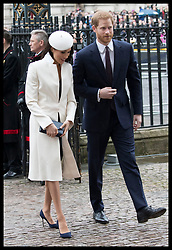 March 12, 2018 - London, London, United Kingdom - Image licensed to i-Images Picture Agency. 12/03/2018. London, United Kingdom.  Prince Harry and Meghan Markle  arriving at the  Commonwealth Day Service at Westminster Abbey in London. (Credit Image: © Stephen Lock/i-Images via ZUMA Press)