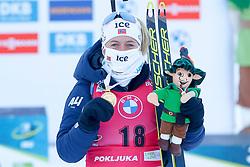 Tiril Eckhoff of Norway celebrates at medal ceremony during the IBU World Championships Biathlon Women's 7,5 km Sprint Competition on February 13, 2021 in Pokljuka, Slovenia. Photo by Primoz Lovric / Sportida