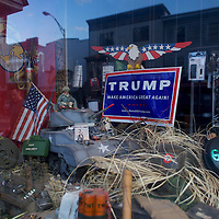 MINERSVILLE, PA - June 6, 2016.   A Donald J. Trump campaign sign is displayed in the storefront of a firearm pawn shop in Minersville, PA on June 6, 2016.  The Republican Presidential hopeful aspires to put the rust belt into play.  CREDIT: Mark Makela for The New York Times