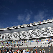 The new front stretch grandstands are seen prior to the 58th Annual NASCAR Daytona 500 auto race at Daytona International Speedway on Sunday, February 21, 2016 in Daytona Beach, Florida.  (Alex Menendez via AP)