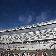 The new front stretch grandstands are seen prior to the 58th Annual NASCAR Daytona 500 auto race at Daytona International Speedway on Sunday, February 21, 2016 in Daytona Beach, Florida.  (Alex Menendez via AP)