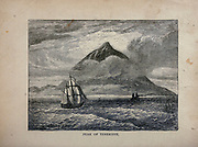 Peak of Teneriffe [Tenerife] Mount Teide is a volcano on Tenerife in the Canary Islands, Spain. From The merchant vessel : a sailor boy's voyages to see the world [around the world] by Nordhoff, Charles, 1830-1901 engraved by C. LaPlante; some illustrations by W.L. Wyllie Publisher New York : Dodd, Mead & Co. 1884