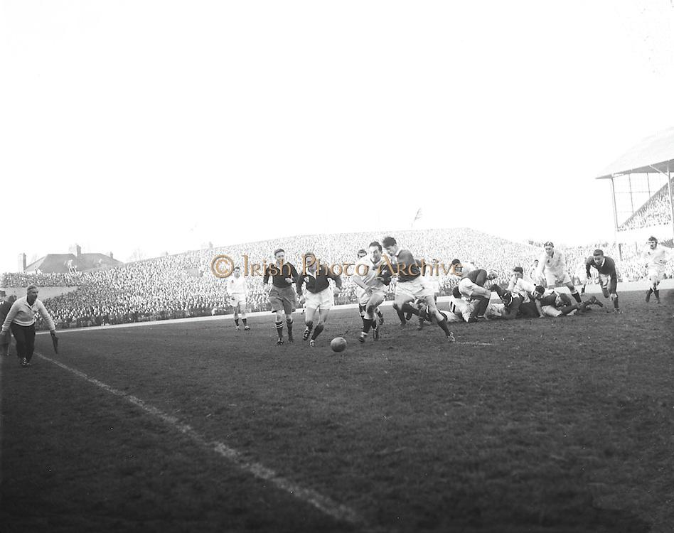 Irish Rugby Football Union, Ireland v England, Five Nations, Landsdowne Road, Dublin, Ireland, Saturday 12th February, 1955,.12.2.1955, 2.12.1955,..Referee- Mr A I Dickie, Scottish Rugby Union,..Score- Ireland 6 - 6 England, ..Irish Team,..W R Tector, Wearing number 15 Irish jersey, Full Back, Wanderers Rugby Football Club, Dublin, Ireland, ..A C Pedlow, Wearing number 14 Irish jersey, Right wing, Queens University Rugby Football Club, Belfast, Northern Ireland,..N J Henderson, Wearing number 13 Irish jersey, Right centre, N.I.F.C, Rugby Football Club, Belfast, Northern Ireland,..A J O'Reilly, Wearing number 12 Irish jersey, Left Centre, Old Belvedere Rugby Football Club, Dublin, Ireland,..J T Gaston, Wearing number 11 Irish jersey, Left wing, Dublin University Rugby Football Club, Dublin, Ireland, ..J W Kyle, Wearing number 10 Irish jersey, Outside Half, N.I.F.C, Rugby Football Club, Belfast, Northern Ireland,..J A O'Meara, Wearing number 9 Irish jersey, Scrum, Dolphin Rugby Football Club, Cork, Ireland, ..F E Anderson, Wearing number 1 Irish jersey, Forward, N.I.F.C, Rugby Football Club, Belfast, Northern Ireland,..R Roe, Wearing number 2 Irish jersey, Forward,  Landsdowne Rugby Football Club, Dublin, Ireland, ..P J O'Donoghue, Wearing  Number 3 Irish jersey, Forward, Bective Rangers Rugby Football Club, Dublin, Ireland,  ..M N Madden, Wearing number 4 Irish jersey, Forward, Sundays Well Rugby Football Club, Cork, Ireland,..T E Reid, Wearing number 5 Irish jersey, Forward, Garryowen Rugby Football Club, Limerick, Ireland, and, London Irish Rugby Football Club, Surrey, England, ..M J Cunningham,  Wearing number 6 Irish jersey, Forward, University college Cork Rugby Football Club, Cork, Ireland,  ..J R Kavanagh, Wearing number 7 Irish jersey, Forward, Wanderers Rugby Football Club, Dublin, Ireland, ..J S McCarthy, Wearing number 8 Irish jersey, Captain of the Irish team, Forward, Dolphin Rugby Football Club, Cork, Ireland, ..English Team, ..N M Hall, Wearing number