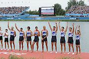 Eton Dorney, Windsor, Great Britain,..2012 London Olympic Regatta, Dorney Lake. Eton Rowing Centre, Berkshire[ Rowing]...Description;  Men's Eights Medals left to right, .GBR.M8+ Alex PARTRIDGE (b) , James FOAD (2) , Tom RANSLEY (3) , Richard EGINGTON (4) , Mohamed SBIHI (5) , Greg SEARLE (6) , Matt LANGRIDGE (7) , Constantine LOULOUDIS (s) , Phelan HILL (c)  Dorney Lake..13:03:52  Wednesday  01/08/2012..[Mandatory Credit: Peter Spurrier/Intersport Images].
