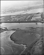 """Ackroyd 10971-1 """"Port  of Portland. Swan Island aerial. June 8, 1962"""" (dredging Gunderson material across Willamette to Swan Island, and then on to Mocks Bottom)"""