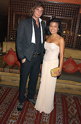 XAN MORGAN and HERSHEY PASCUAL at a dinner hosted by Ayesha Makim and leading stylist Mohieb Dahabieh to celebrate the forthcoming London Fashion Week held at the exotic restaurant Levant, 76 Wigmore Street, London W1 on 8th September 2005.<br /><br />NON EXCLUSIVE - WORLD RIGHTS
