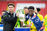 Football - 2020 / 2021 Sky Bet Championship - Barnsley vs Norwich City - Oakwell<br /> <br /> Josh Martin of Norwich City and Bali Mumba of Norwich City with the trophy<br /> <br /> Credit :COLORSPORT/BRUCE WHITE