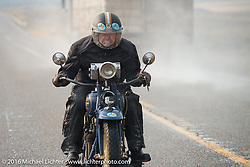 Paul Bessade of France riding his 1929 Henderson KJ during Stage 13 (257 miles) of the Motorcycle Cannonball Cross-Country Endurance Run, which on this day ran from Elko, NV to Meridian, Idaho, USA. Thursday, September 18, 2014.  Photography ©2014 Michael Lichter.