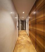 Empty corridor with wodden closet. Nobody inside