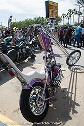 Custom builder Eric Allard's FNA Sportster at the Chopper Time old school bike show at Willie's Tropical Tattoo during Biketoberfest. Ormond Beach, FL, USA. Thursday October 19, 2017. Photography ©2017 Michael Lichter.