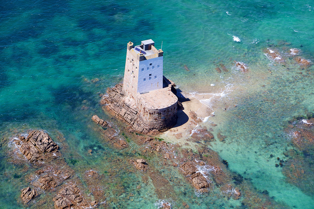 Aerial view of the Heritage site and tourist attraction Seymour Tower on a sunny summers day in jersey, Channel Islands