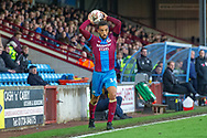 Scunthorpe United defender James Perch throws the ball back into play during the The FA Cup 1st round match between Scunthorpe United and Burton Albion at Glanford Park, Scunthorpe, England on 10 November 2018.