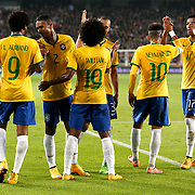 Brazil's players celebrate victory during their a international friendly soccer match Turkey betwen Brazil at Sukru Saracoglu Arena in istanbul November 12, 2014. Photo by Aykut AKICI/TURKPIX