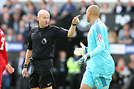 the referee Lee Mason has words with Watford goalkeeper Heurelho Gomes ®. Premier league match, Swansea city v Watford at the Liberty Stadium in Swansea, South Wales on Saturday 23rd September 2017.<br /> pic by  Andrew Orchard, Andrew Orchard sports photography.
