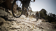 Rene Wildhaber and Ross Schnell ride their old Swiss army bike during the Red Bull Buffalo Soldier Mountain Bike Trip in USA in Paradox Valley (Colorado), on October 11th 2012.