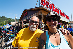 Dave and Jody Perewitz in the Broken Spoke section of the Iron Horse Saloon before the Cycle Source ride on the 78th annual Sturgis Motorcycle Rally. Sturgis, SD. USA. Wednesday August 8, 2018. Photography ©2018 Michael Lichter.