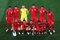 England Team Group: Front Row (left-right) - Harry Kane, Kieran Trippier, Jordan Henderson, Jesse Lingard and Ashley Young. Back Row - Kyle Walker, John Stones, England goalkeeper Jordan Pickford, Harry Maguire, Dele Alli and Raheem Sterling during the FIFA World Cup Group G match at The Volgograd Arena, Volgograd.