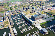 Nederland, Noord-Holland, Amsterdam, 09-04-2014; Amsterdam-Noord, jachthaven Amsterdam Marina met Kraanspoor, onderdel van voormalige NDSM werf, 'creatieve hotspot'<br /> Amsterdam Marina.<br /> luchtfoto (toeslag op standard tarieven);<br /> aerial photo (additional fee required);<br /> copyright foto/photo Siebe Swart