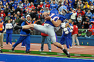 October 10, 2009: Wide receiver Kerry Meier #10 of the Kansas Jayhawks catches a 3-yard touchdown pass in the second quarter against the Iowa State Cyclones at Memorial Stadium in Lawrence, Kansas.  Kansas defeated the Cyclones 41-36.