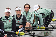 Putney, London, Varsity, Tideway Week, 2nd April 2019, CUWBC, Blondie crew, right to left.  Charlotte JACKSON,<br /> Emma ANDREWS, Adriana Perez ROTONDO, Abigail PARKER and <br /> Anouschka FENLEY, Embankment, Start of the Oxford Cambridge Media week, Championship Course,<br /> [Mandatory Credit: Peter SPURRIER], Tuesday,  02.04.19,