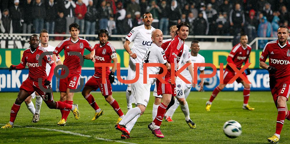 Besiktas's and Kasimpasa's players during their Turkish superleague soccer match Besiktas between Kasimpasa at the BJK Inonu Stadium in Istanbul Turkey on Saturday, 16 March 2013. Photo by Aykut AKICI/TURKPIX