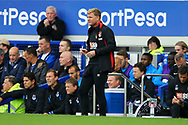 Bournemouth Manager Eddie Howe takes notes in his technical area. Premier league match, Everton vs Bournemouth at Goodison Park in Liverpool, Merseyside on Saturday 23rd September 2017.<br /> pic by Chris Stading, Andrew Orchard sports photography.
