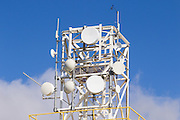 Microwave dish antenna on communications tower <br /> <br /> Editions:- Open Edition Print / Stock Image