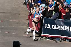 Shalane Flanagan, entering home stretch, winner in women's marathon