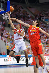 David Logan of Poland vs Garbajosa of Spain during the EuroBasket 2009 Group F match between Poland and Spain, on September 16, 2009 in Arena Lodz, Hala Sportowa, Lodz, Poland.  (Photo by Vid Ponikvar / Sportida)