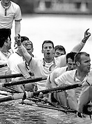 Peter Spurrier Sports Photo<br /> email pictures@rowingpics.com<br /> 44 (0) 7973 819 551<br /> <br /> Cambridge president, Kieran West, holds his arms up in victory, after winning the 2001 Boat Race [Mandatory Credit; Peter SPURRIER/Intersport Images]<br /> <br /> 20010324 University Boat Race, Putney to Mortlake, London, Great Britain.