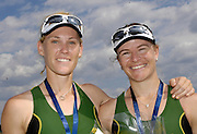 Poznan, POLAND, AUS W2X,  Left, Catriona SENS and Sonia MILLS,  with their Silver medals after securing Olympic selection for the 2008 Beijing Olympics by winning the silver medal the  women's double sculls  at the 2008 Olympic Qualification  Rowing Regatta. Malta Rowing Course on Wednesday, 18/06/2008. [Mandatory Credit:  Peter SPURRIER / Intersport Images] . Rowing Course:Malta Rowing Course, Poznan, POLAND