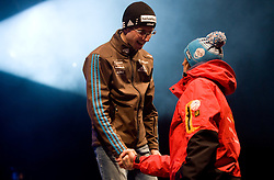World champion Simon Ammann of Switzerland and second placed Gregor Schlierenzauer of Austria  during medal ceremony after the Flying Hill Individual  at 3rd day of FIS Ski Flying World Championships Planica 2010, on March 20, 2010, Planica, Slovenia.  (Photo by Vid Ponikvar / Sportida)