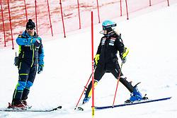 Sergej Poljšak, coach of Slovenia and Meta Hrovat of Slovenia during the Ladies' Slalom at 56th Golden Fox event at Audi FIS Ski World Cup 2019/20, on February 16, 2020 in Podkoren, Kranjska Gora, Slovenia. Photo by Morgan Kristan / Sportida