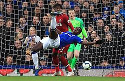 Everton's Kurt Zouma clears the ball during the Premier League match at Goodison Park, Liverpool.