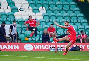 Sale Sharks fly-half Rob Du Preez kicks a conversion during the Gallagher Premiership Rugby match Northampton Saints -V- Sale Sharks won by Sale 34-14, at Franklin's Gardens, Northamptonshire ,England United Kingdom, Tuesday, September 29, 2020. (Steve Flynn/Image of Sport)