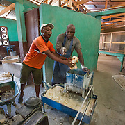 CAPTION: Jean-Pierre Regel and Elino Selondieu work together as a team to mill the cassava, using a machine that crushes and grates it. The renovation and modernization of OGKPS's bakery and cassaverie is directly benefiting around 360 farmers, bread vendors, bakery workers, and other residents in and around Cap-Haïtien. ORGANIZATION: Organizasyon Gwoupman Kominotè Pawas Sakretè (OGKPS). LOCATION: #88 Laviolette (Monte Pa Desann), Cap-Haïtien, Haiti. INDIVIDUAL(S) PHOTOGRAPHED: Jean-Pierre Regel (left) and Elino Selondieu (right).