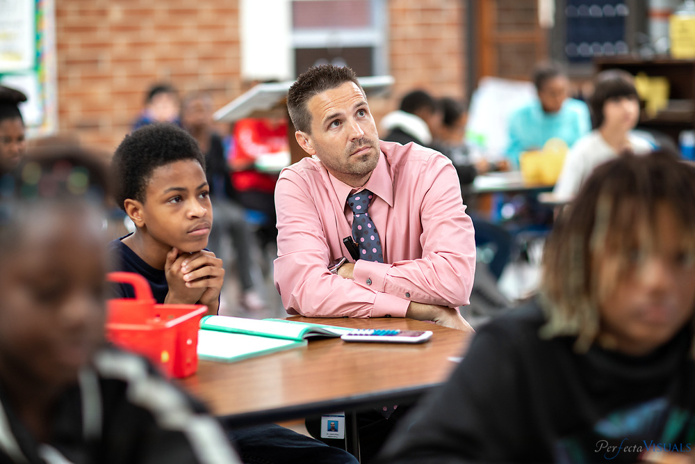 Principal Jamie King.<br /> <br /> Seventh grade students engage in math activities at Northeast Middle School in McLeansville, N.C. on Wednesday, October 16, 2019. <br /> <br /> Photographed, Wednesday, October 16, 2019, in Greensboro, N.C. JERRY WOLFORD and SCOTT MUTHERSBAUGH / Perfecta Visuals