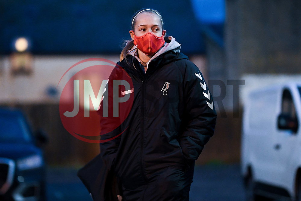 Flo Allen of Bristol City Women arrives at Twerton Park prior to kick off - Mandatory by-line: Ryan Hiscott/JMP - 14/11/2020 - FOOTBALL - Twerton Park - Bath, England - Bristol City Women v Tottenham Hotspur Women - Barclays FA Women's Super League