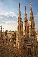 Vertical Photo of rooftop view of the Duomo Cathedral, Milan Italy