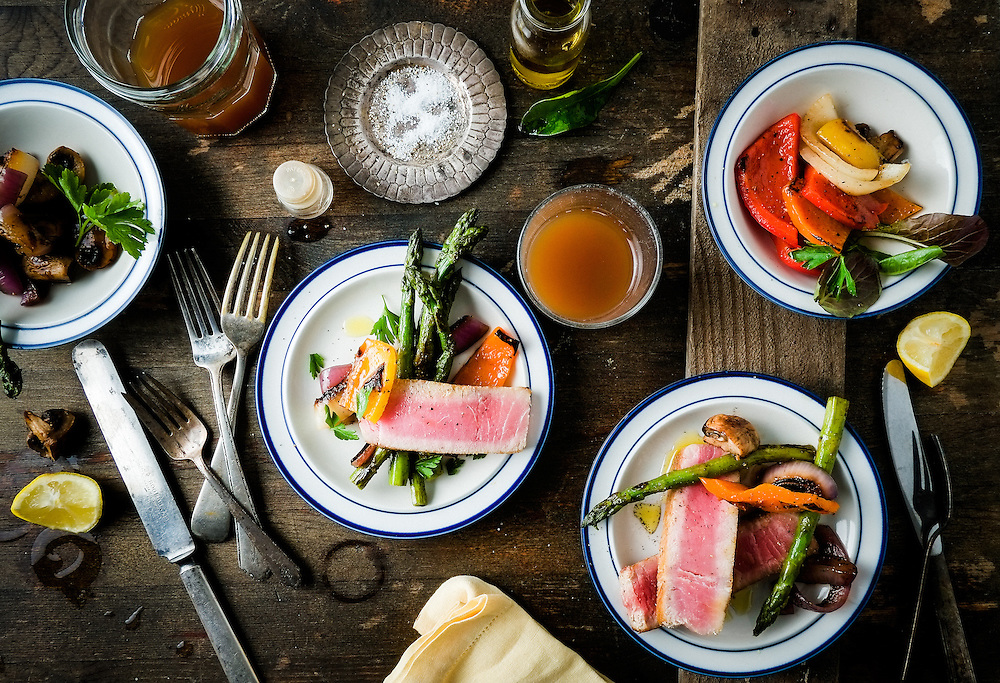 Small plates of Tuna and Roasted Vegetables.