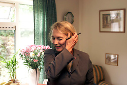 Anne Campbell, MP for Cambridge, is looking busy as she walks around in Cambridge meeting members of the public and finding out about their problems. October 8, 2000..Photo by Andrew Parsons/i-Images..