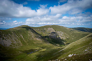 Incredible views of the western Fells from the summit of Catstye Cam in The Lake District, Cumbria, United Kingdom on the 2nd of August 2021. Catstye Can is next to Helvellyn which is the third-highest point in England and is located in the beautiful Lake District National Park and part of the Eastern Fells.