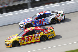 August 12, 2018 - Brooklyn, Michigan, United States of America - Chris Buescher (37) and AJ Allmendinger (47) battle for position during the Consumers Energy 400 at Michigan International Speedway in Brooklyn, Michigan. (Credit Image: © Chris Owens Asp Inc/ASP via ZUMA Wire)