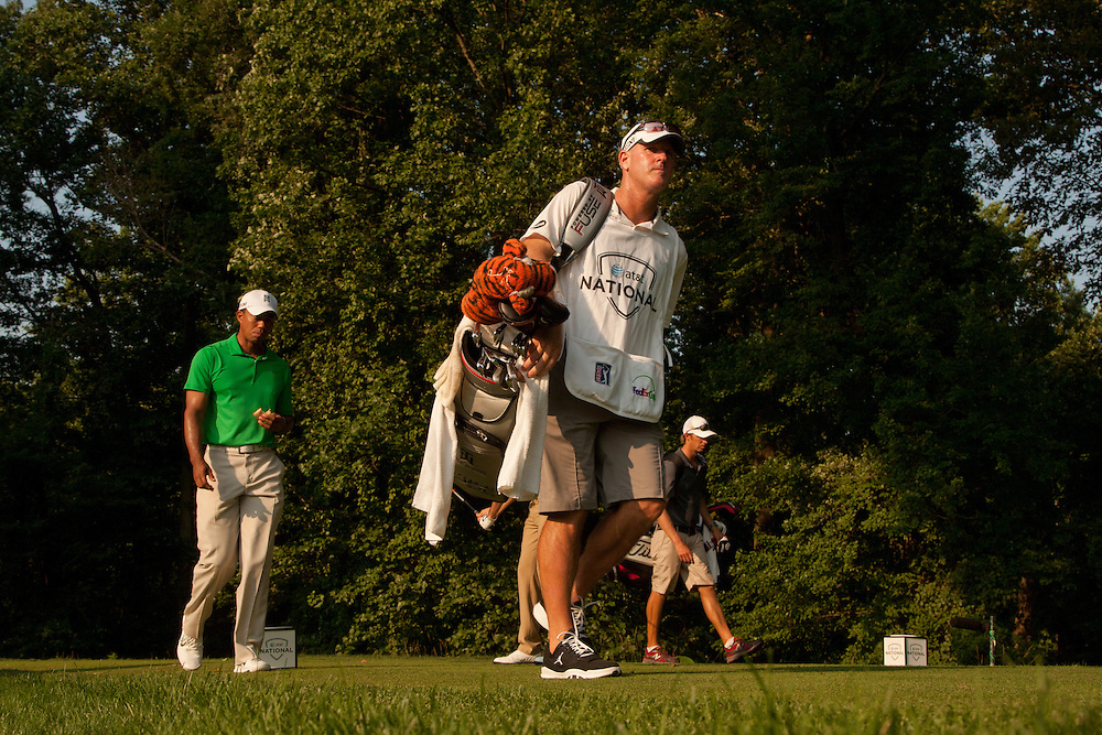 BETHESDA, MD - JUNE 30: Joe LaCava, caddie for Tiger Woods, during the third round of the 2012 AT&T National at Congressional Country Club in in Bethesda, Maryland on June 30, 2012. (Photograph ©2012 Darren Carroll) *** Local Caption *** Joe LaCava