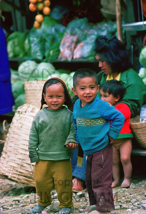 Bontoc children at the Nakubling Market in Luzon, Philippines.