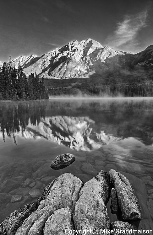 Pyramid Mountain reflected in Pyramid Lake at sunrise, Jasper National Park, Alberta, Canada<br />Jasper National Park<br />Alberta<br />Canada