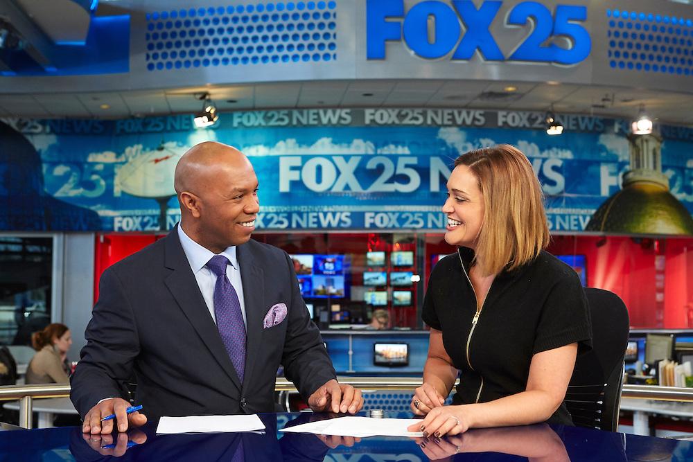 Dedham, MA 03/25/2015<br /> Daniel Miller chats with co-anchor Sorboni Banerjee at the Fox 25 news desk.<br /> Alex Jones / www.alexjonesphoto.com