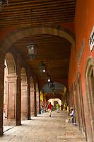 Archway along the main square,  San Miguel de Allende, Mexico