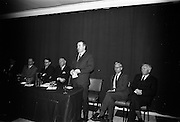05/04/1966<br /> 04/05/1966<br /> 05 April 1966<br /> An Foras Forbatha Press Conference at Power's Hotel, Dublin. At the An Foras Forbartha (National Institute for Physical Planning and Construction Research), reception to announce the research programme of the Roads and Road Traffic Committee for 1966/1967 Mr. Neil T. Blaney T.D. Minister for local Government addressing the gathering.