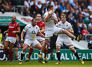 England's Jack Clifford collects a high ball during the The Old Mutual Wealth Cup match England -V- Wales at Twickenham Stadium, London, Greater London, England on Sunday, May 29, 2016. (Steve Flynn/Image of Sport)